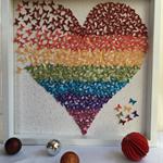 Rainbow butterflies Heart| wall art frame| heart frame| kids room decor|wall ar