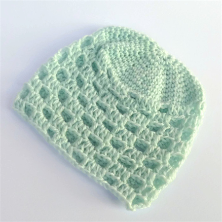 crochet baby beanie   aqua   baby shower gift   unisex newborn - 3 months