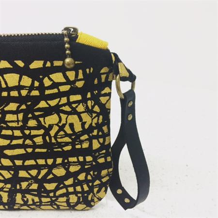 Clutch/Purse/screenprint/ Linen/Poly Cotton Lining/ PU leather strap/ Handmade
