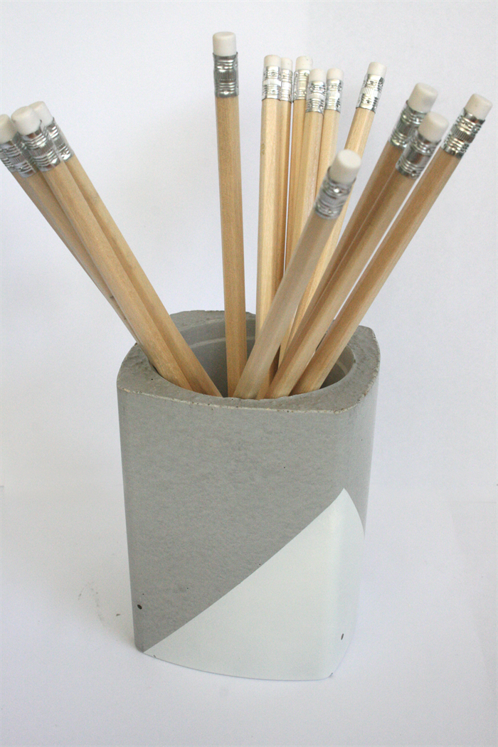 Square Concrete Pencil Holder Planter Pot White RAW Design Co Madeit C
