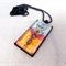 Art deco botanical style handpainted pendant, necklace; orange, green, red, blue