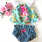 High Waisted denim bloomers and floral crop - neon, baby, girl, birthday