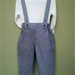 Navy Check Pants with Shoulder Straps