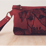 Suede Clutch / Purse / Bull Arab / Dog / Wine Red / Linen Lined / Screenprint