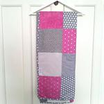 """""""Magenta metallic & grey Swiss cross""""  Cot Blanket"""