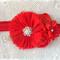 Cluster Flower Headband Red ,chiffon, bling Newborns to girls