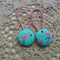 Fabric Covered Button Hair  Ties. FLAMINGO design. 