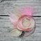 Feathered Fascinator Headpiece- In pink and beige