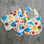Under the sea baby gift set - Burp cloth, bib & teether - Baby shower gift