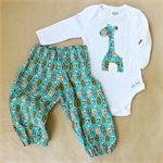 baby giraffe gift set | harem pants + winter onesie