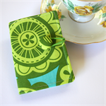 Tea Bag Wallet - Big Green Abstract Blooms on Blue