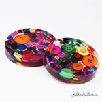 Multicoloured Buttons Drink coaster / paperweights - SINGLE - Resin