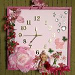 Nursery Decor, Nursery Art Pink Artificial Flower Unique Wall Clock Baby Shower