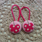 Fabric Covered Button Hair  Ties. CHERRY design. Pink