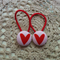 Fabric Covered Button Hair  Ties. HEART design. Pink red