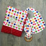 Love heart baby girl gift set - Stroller/pram blanket, bib & teether