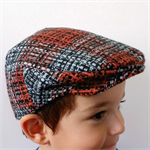 Boys Driving Cap Vintage Hat. Black, Blue & Rust - your choice of size