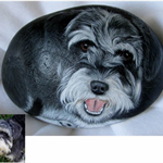 Pet portraits on river rock
