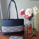 Large Paris with a navy and white Japanese pattern