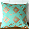 Metallic Copper and Mint Tile Cushion Cover