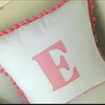 Custom Monogram Pom Pom Cushion