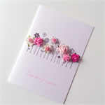 I am here for you with pink paper roses blooms general blank flower stems card