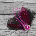 Pink and Black Feathered Facinator