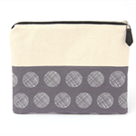 Cotton+canvas metal zip pouch with leather zip-pull.