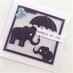 Congratulations blue baby newborn boy bundle of joy gingham elephant cute card