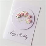 Happy birthday sweet soft pink paper roses celebrate friend lady mum sister card