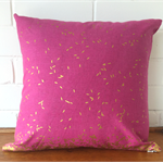 Metallic gold and pink grain cushion cover