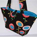 Black floral girls tote, Colourful handbag for girl