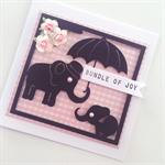 Pink baby newborn girl bundle joy gingham elephant congratulations cute card