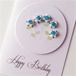 Aqua blue paper roses celebrate Happy Birthday friend lady mum sister card