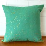 Metallic gold and mint green grain cushion cover