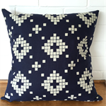 Dark Navy and off-white tile cushion cover