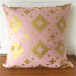 Metallic Pink and Gold Tile Cushion Cover