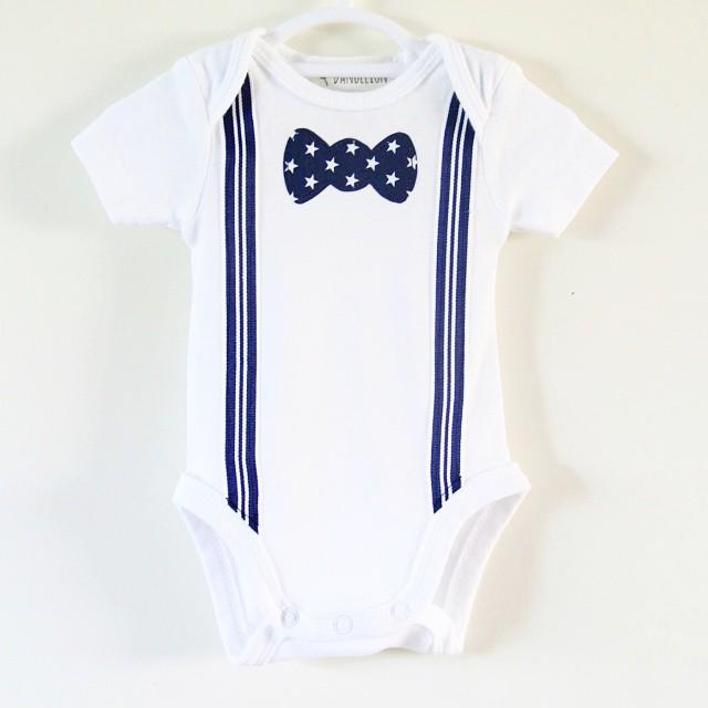 840cbb674e30 Boys Onesie Bodysuit or T Shirt with Stripy Suspenders and Star Print Bow  tie