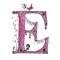 Cute Pink Floral Letter E A4  Print