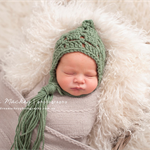 Gorgeous Textured Bonnet / Pixie / Unisex Newborn / Light Sage / Photo Prop