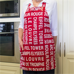 Full Apron - womens lined  retro French/Paris apron with pocket - Moulin Rouge