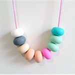 Silicone Teething Necklace - Pastel Rainbow Abacus