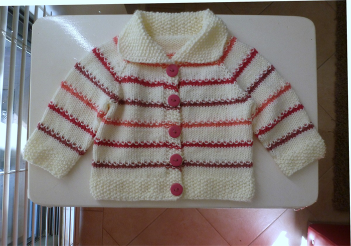 Hand Knitted Baby Cardigan Berry Pink And Watermelon Stripes Fit