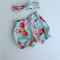 Gorgeous blue seaside rosy high waisted shorts bloomers with top knot headband
