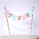 Bunting Cake Topper  - Pastel Pink, Ice Blue and Floral