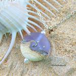 Ocean Wave Necklace - Mauve Lampwork Pendant Necklace Sterling Silver Chain