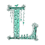 Cute Teal / Mint  Floral Letter E A4  Print Lila Lily Lilly Layla Lucy Lexie