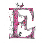 Cute Pink Floral Letter E A4  Print
