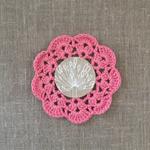 Crochet mug/teapot doily coaster in silky pink, teacher gift