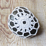 Crochet Stone Paperweight Ornament Rock Cozy Crocheted White Decorative